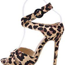 zapatos de los 80 de mujer sandalias de tacón con estampado de leopardo
