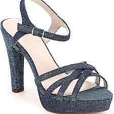 zapatos de mujer de los años 80 sandalias de tacón con brillantina